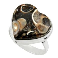 Natural heart turritella fossil snail agate 925 silver ring size 7 r44054