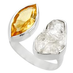 14.12cts natural herkimer diamond 925 silver adjustable ring size 7.5 r29696