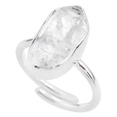 8.42cts natural herkimer diamond 925 silver adjustable ring size 8.5 t49004