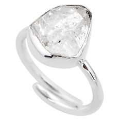 5.79cts natural herkimer diamond 925 silver adjustable ring size 6.5 t49027