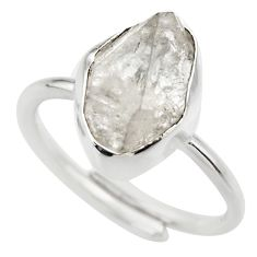 Natural herkimer diamond 925 silver adjustable solitaire ring size 7.5 r29682