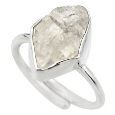 Natural herkimer diamond 925 silver adjustable solitaire ring size 6 r29685