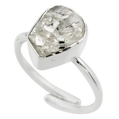Natural herkimer diamond 925 silver adjustable solitaire ring size 7 r29690