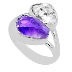 9.18cts natural herkimer diamond amethyst raw 925 silver ring size 7 t49728