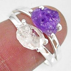 7.62cts natural herkimer diamond amethyst raw 925 silver ring size 8 t6778