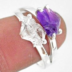 7.21cts natural herkimer diamond amethyst raw 925 silver ring size 8 t6790