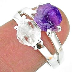 6.82cts natural herkimer diamond amethyst raw silver ring size 8 t15322
