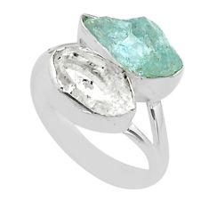 10.78cts natural herkimer diamond aquamarine raw 925 silver ring size 7 t49702