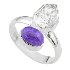 9.57cts natural herkimer diamond charoite (siberian) silver ring size 8.5 t49651