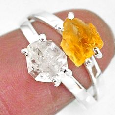 6.64cts natural herkimer diamond citrine raw 925 silver ring size 7 t6761