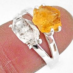 6.83cts natural herkimer diamond citrine raw 925 silver ring size 7 t6762
