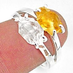 6.83cts natural herkimer diamond citrine raw 925 silver ring size 7 t6781