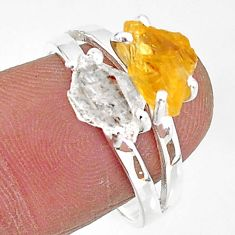 6.90cts natural herkimer diamond citrine raw 925 silver ring size 8 t6782