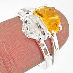 6.83cts natural herkimer diamond citrine raw 925 silver ring size 8 t6783