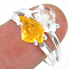 7.34cts natural herkimer diamond citrine raw 925 silver ring size 9 t15324