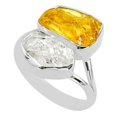 10.78cts natural herkimer diamond citrine raw 925 silver ring size 9 t49738