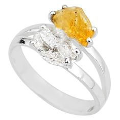 6.90cts natural herkimer diamond citrine raw 925 silver ring size 9 t6759