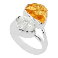 10.78cts natural herkimer diamond citrine raw fancy silver ring size 7 t49734