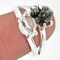 6.45cts natural herkimer diamond diamond raw 925 silver ring size 7 t6794