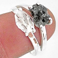 6.58cts natural herkimer diamond diamond raw 925 silver ring size 7 t6795