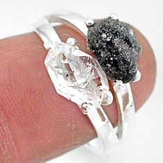 7.21cts natural herkimer diamond diamond raw 925 silver ring size 7 t6796