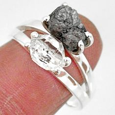 7.24cts natural herkimer diamond diamond raw 925 silver ring size 8 t6768