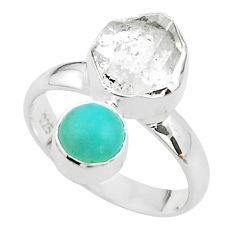 8.73cts natural herkimer diamond peruvian amazonite silver ring size 7 t49666