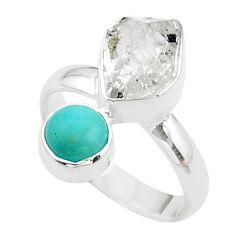 9.16cts natural herkimer diamond peruvian amazonite silver ring size 7 t49673