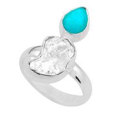 8.91cts natural herkimer diamond peruvian amazonite silver ring size 7 t49854