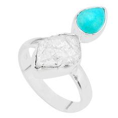 8.80cts natural herkimer diamond peruvian amazonite silver ring size 8 t48993