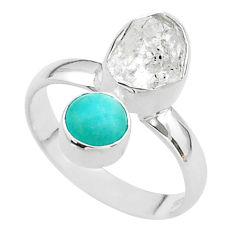 8.26cts natural herkimer diamond peruvian amazonite silver ring size 8 t49657