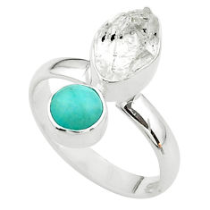 8.75cts natural herkimer diamond peruvian amazonite silver ring size 8 t49662
