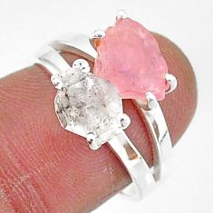 7.24cts natural herkimer diamond rose quartz raw 925 silver ring size 7 t6774