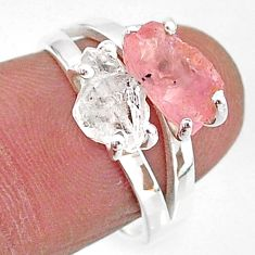6.56cts natural herkimer diamond rose quartz raw 925 silver ring size 7 t6785