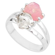 6.83cts natural herkimer diamond rose quartz raw 925 silver ring size 8 t6746