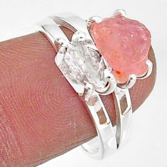 6.95cts natural herkimer diamond rose quartz raw 925 silver ring size 8 t6787