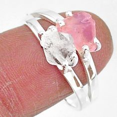7.16cts natural herkimer diamond rose quartz raw 925 silver ring size 9 t6773