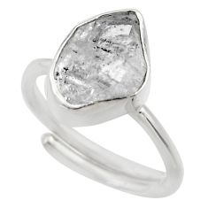 5.98cts natural herkimer diamond silver adjustable solitaire ring size 5 r29700