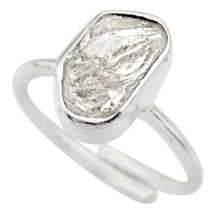 6.03cts natural herkimer diamond silver adjustable solitaire ring size 7 r29686