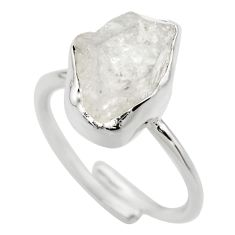 6.58cts natural herkimer diamond silver adjustable solitaire ring size 8 r29699