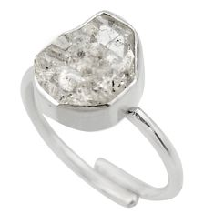 5.81cts natural herkimer diamond silver solitaire adjustable ring size 8 r29692