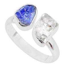 Natural herkimer diamond tanzanite raw 925 silver adjustable ring size 9 t9910
