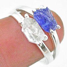 4.76cts natural herkimer diamond tanzanite raw 925 silver ring size 7 t15321