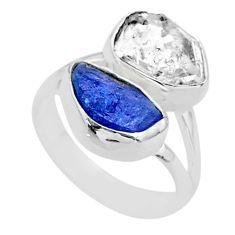 10.29cts natural herkimer diamond tanzanite raw 925 silver ring size 7 t49892