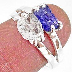 6.56cts natural herkimer diamond tanzanite raw 925 silver ring size 7 t6769