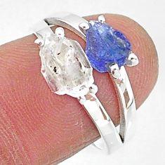 6.56cts natural herkimer diamond tanzanite raw 925 silver ring size 7 t6797
