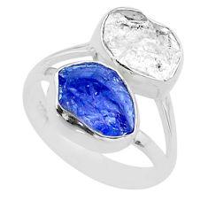 10.78cts natural herkimer diamond tanzanite raw 925 silver ring size 8 t49887