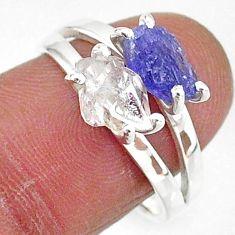6.51cts natural herkimer diamond tanzanite raw 925 silver ring size 8 t6779