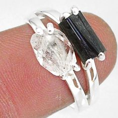 6.21cts natural herkimer diamond tourmaline raw 925 silver ring size 7 t6789