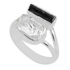 10.02cts natural herkimer diamond tourmaline raw 925 silver ring size 8 t49716